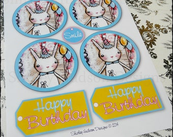 Bunny Birthday tags PDF - collage art sheet easy acrylic painting happy blue pink scrapbooking