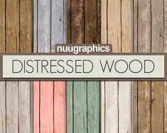 "Wood digital paper: ""DISTRESSED WOOD"" with wood backdrop in gray, brown, blue, pink, green, beige, tan digital wood background, wood texture"