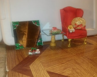 High Quality dollhouse furniture living room Hansson wingback chair christmas scene mirrors table hat gifts holiday cute ooak set 1/12 scale