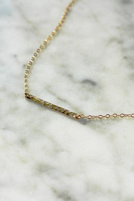 hammered horizontal bar necklace gold bar necklace simple. Black Bedroom Furniture Sets. Home Design Ideas