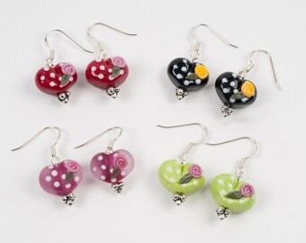 handmade glass heart earrings
