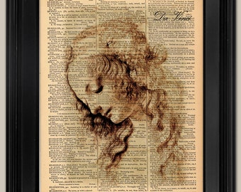 "Da Vinci Woman drawing. Vintage book page art print. Print on book  page.  Fits 8""x10"" frame."