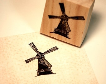 Hand carved rubber stamp - windmill.