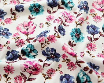 Watercolor Floral Pattern Cotton Fabric Pink by Yard AQ71