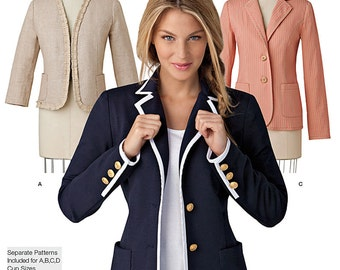 Simplicity Sewing Pattern 1421 Misses' Unlined Jacket with Collar and Finishing Variations