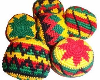 hand made crochet rasta color hacky sacks 6 pack set