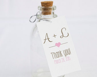 Wedding Favor Tags, Initial and Heart Custom Wedding Tags, Custom Wedding Hang Tags  (RT-004)