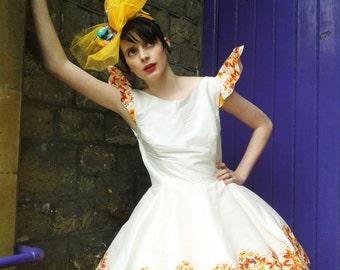White silk hand printed dress and orange tutu, Alice In Wonderland , Wedding, Party.