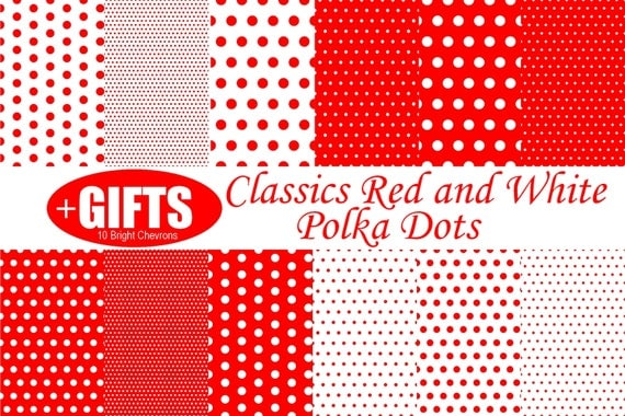 Classic Red and White Polka Dot digital paper scrapbook red polka dots for Red polka dot dress fabric print polka dot wall decal clipart DIY