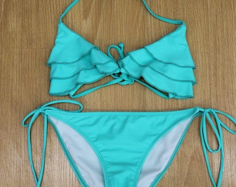 Mint Ruffle Triangle Top Tie Sides Bottom