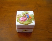 Vintage Limoges Trinket Box,  Fragonard Courting Couple, Square