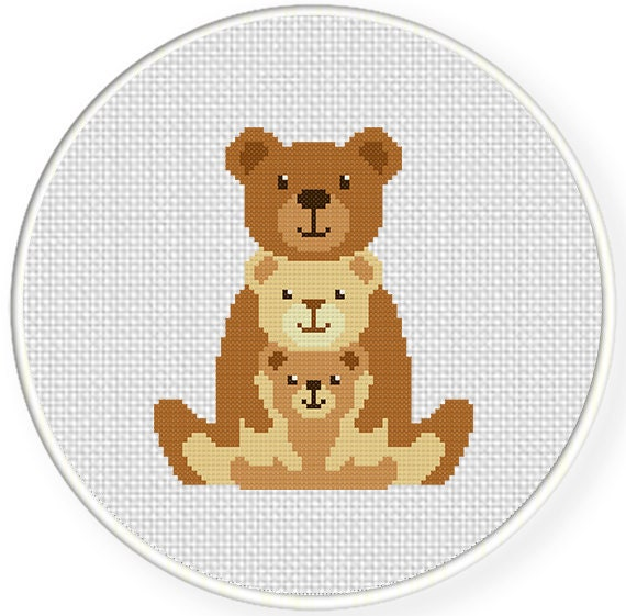 SALE Family Bear PDF Cross Stitch Pattern