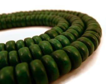 Dark Green Rondelle Bead - Wooden Bead - Disc Bead - Wood Bead - 100 Ct - Wood Disc Bead - Green Wood Bead