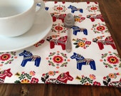 Set of two handmade placemats // Dala Horse pattern