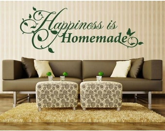 Happiness is Homemade wall decal, sticker, mural, vinyl wall art