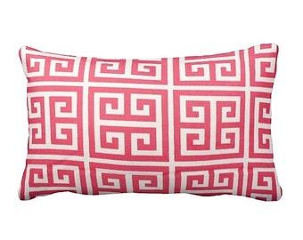 One 12x16 Decorative Pillow Cover Pink Pillow Greek Key Pillow Sofa Pillow Pink Home Decor Throw Pillow Bright Pink Pillow