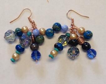 Rose Gold Dangle Earrings with Blue Beads - Rose Gold Jewelry - Homemade Earrings - Homemade Jewelry - Pearl Earrings