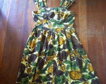 Floral Earth Tone 50's Dress