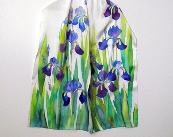 Silk shawl Mom birthday gift Handpainted scarf Wedding scarf Iris shawl Silk scarf Hand painted scarf Mother of the bride gift women scarf