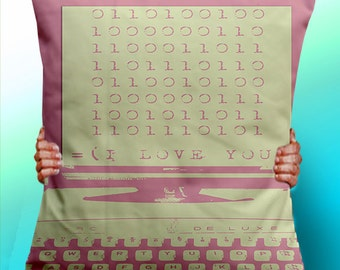 I Love You in Binary - Cushion / Pillow Cover / Panel / Fabric