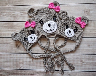 Crochet teddy bear Hat, Newborn bear hat, Baby teddy bear hat, Beige teddy bear hat