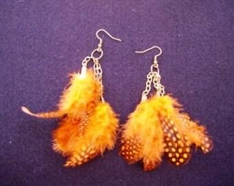 Orange Feather Dangle Earrings