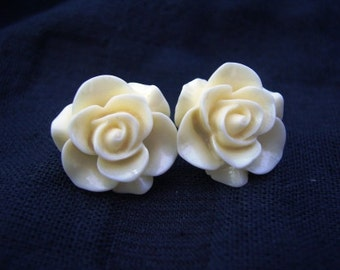 Large Pale Yellow Rose Stud Earrings