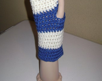 Blue & White Fingerless Gloves