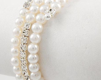 96b 3 Row Bridal SP Rhinestone Crystal White Pearl Coil Bracelet & Gift Box