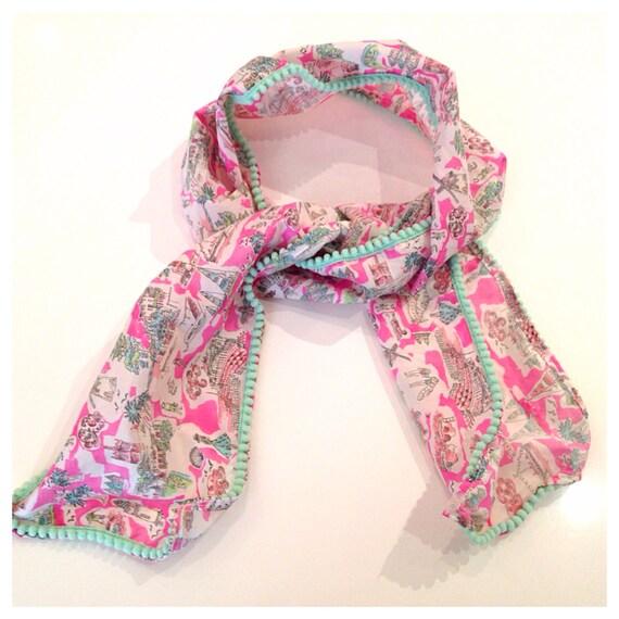 Hot pink Isle of Wight Liberty Print Fabric aqua mini Pom Pom  scarf