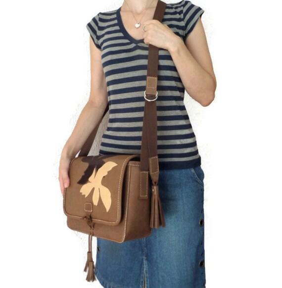 Chocolate Brown Messenger Leather  Bag/ Shoulder Bag/ Leather Applique