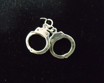 Sterling Silver Handcuffs Movable 3D Charm/Pendant  - .925  2.6 grams