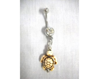 Carved Ivory White Bone Bead Ocean Life Pacific Honu Endangered SEA TURTLE Charm on 14g Clear CZ Belly Ring Navel Bar Aloha Body Jewelry