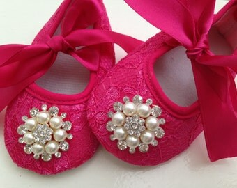 Hot pink lace baby shoes, newborn pink shoes, rhinestone  crib shoes, ballerina shoes, princess shoes