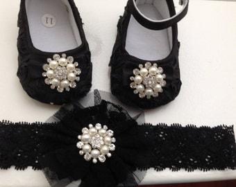 Black satin rosette baby shoes and headband set--black crib shoes-- newborn rosette shoes