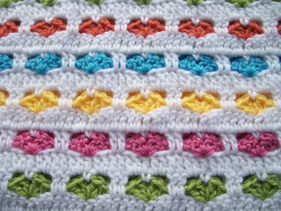Crochet Afghan Patterns With Hearts : Crocheted Hearts Afghan for Baby or Toddler by ...