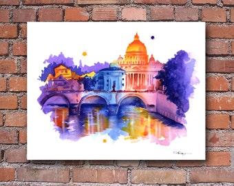Rome Skyline - Italy Watercolor Art Print - Wall Decor