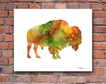 Buffalo Art Print - Abstract Bison Watercolor Painting - Wall Decor