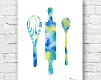 Rolling Pin Whisk Spoon Art Print - Abstract Watercolor Painting - Kitchen Wall Decor