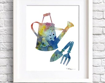 Watering Can Gardening Art Print - Abstract Watercolor Painting - Wall Decor
