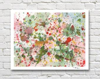 Abstract Drip - Art Print - Watercolor Painting  - Contemporary Wall Decor