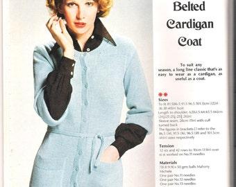vintage knitting patterm, half sleeved belted cardigan