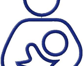 Breastfeeding Symbol Applique Embroidery Design