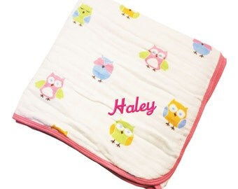 Pink Owl Cotton Muslin Classic Dream Nap Baby Blanket - Personalized Embroidery
