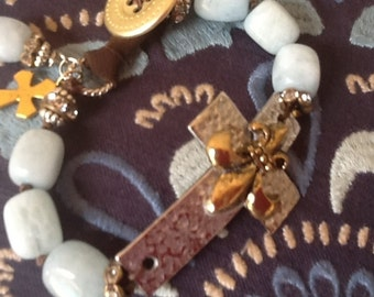 Cross Bracelet Boho Bracelet Aquamarine Bracelet Women's Bracelet Fleur De Lis bracelet Gemstone bracelet Boho Chic