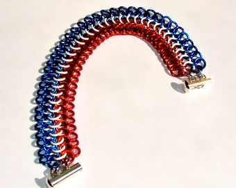 Red, White & Blue Chainmaille bracelet. European 4-in-1 weave. Enameled copper.