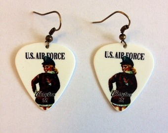 U.S. Air Force Pinup Girl Guitar Pick Earrings