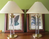 Pair Vintage Frederick Cooper Lucite Table Lamps with Original Shades