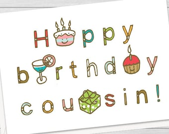 Wedding Gift Ideas For Male Cousin : cousin/(insert name here)! - Personalized birthday card, cute cousin ...