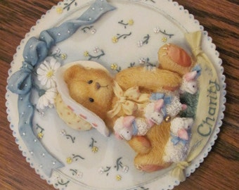 "Cherished Teddies ""Charity"" Circa. 1994. Girls with Bonnet Plaque"